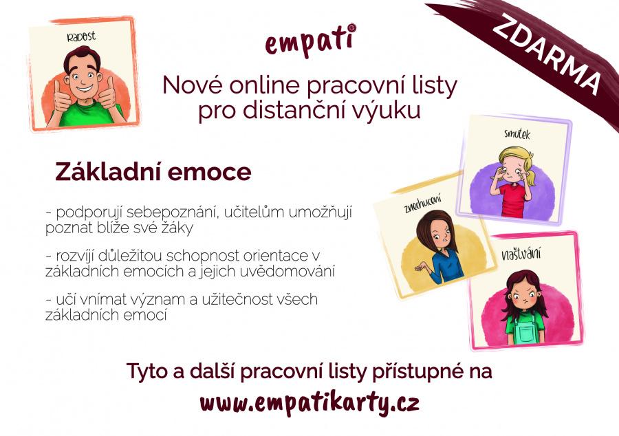Pracovní listy Základní emoce a empati karty obrázkové karty článek