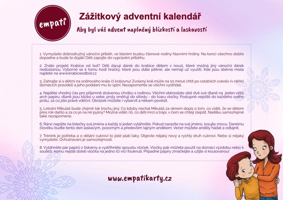 Zážitkový adventní kalendář obrázkové karty článek